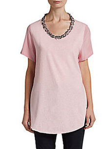 3.1 Phillip Lim Embellished Silk-Crepe Paneled Tee