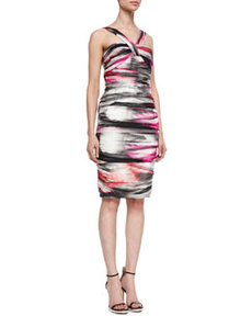 Airbrushed Halter-Style Cocktail Dress, Multicolor   Airbrushed Halter-Style Cocktail Dress, Multicolor