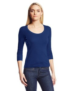 Three Dots Women's 3/4 Sleeve Scoop Neck
