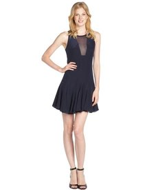 Rebecca Taylor navy pleated chiffon detail dress