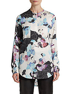 3.1 Phillip Lim Printed Henley-Zip Blouse