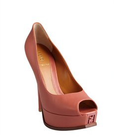 dark pink leather 'Fendista' peep toe platform pumps