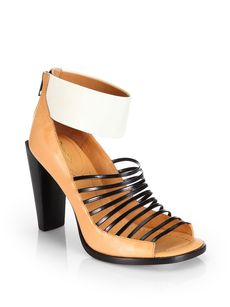 3.1 Phillip Lim Dede Leather Open-Toe Ankle Boots