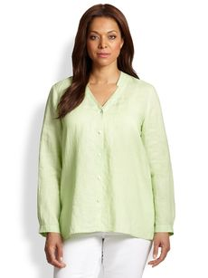 Eileen Fisher, Sizes 14-24 Linen Button-Front Shirt