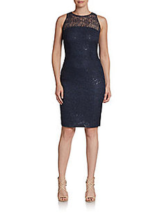 Carmen Marc Valvo Sequined Lace Illusion Cocktail Dress