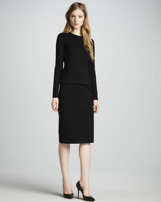 J Brand Ready to Wear Williams Long-Sleeve Peplum Dress