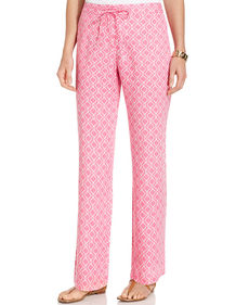 Charter Club Printed Straight-Leg Linen Drawstring Pants