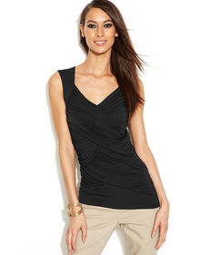 INC International Concepts Criss-Cross Ruched Sleeveless Top