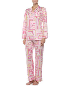 Cube-Print Notch Pajama, Hot Pink   Cube-Print Notch Pajama, Hot Pink