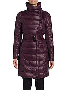 Saks Fifth Avenue BLUE Belted Asymmetrical Puffer Jacket