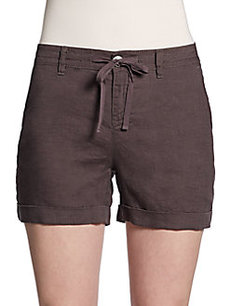 Saks Fifth Avenue BLUE Linen Drawstring Shorts