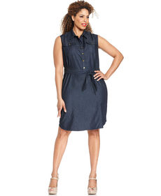 Jones New York Signature Plus Size Sleeveless Chambray Shirtdress