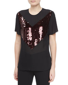JASON WU Short-Sleeve Jersey Sequin T-Shirt, Ruby/Black