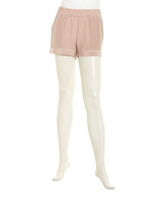 Joie Calisi Contrast-Trim Silk Shorts, Dusty Mink/New Moon