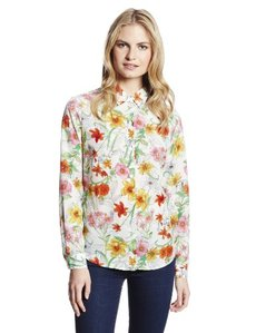 Jones New York Women's Taylor Printed Collar Button Blouse