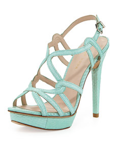 Pelle Moda Flirty Snake-Print Leather Sandal, Aqua