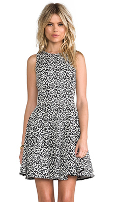 Tibi Leopard Knit Dress in Black