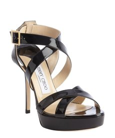 Jimmy Choo black patent leather crisscross strappy 'Vamp' platform sandals