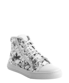Gucci white floral print canvas high top sneaker