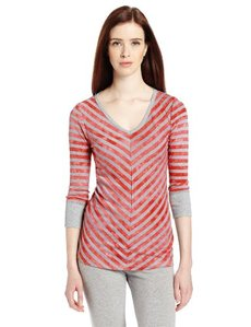 Calvin Klein Performance Women's Mitered Stripe Elbow Sleeve Tee