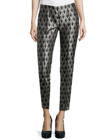 Lafayette 148 New York Harlequin Geometric-Jacquard Pants, Black/Gray