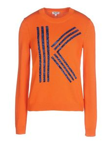 KENZO Lightweight sweater Solid color Round collar Logo detail Long sleeves Knitted not made of fur Long sleeves
