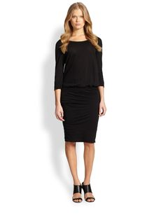 James Perse Blouson-Waist Ruched Cotton Jersey Dress