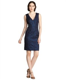 A.B.S. by Allen Schwartz cobalt cotton blend brocade v-neck sleeveless dress