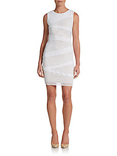 Calvin Klein Striped Asymmetrical-Overlay Dress