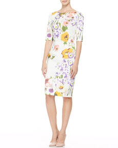 Lela Rose Half-Sleeve Floral Sheath Dress