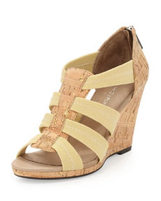 Donald J Pliner Helli Cork/Mesh Strappy Wedge Sandal, Gold/Natural