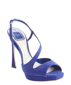 Christian Dior blue suede strappy detail platform peep toe sandals
