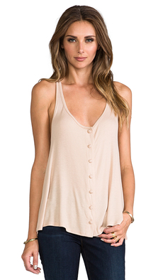 Rachel Pally Rib Button Down Slouch Tank in Beige