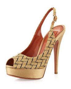 Missoni Peep-Toe Slingback Pump, Gold/Black