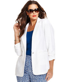 MICHAEL Michael Kors Plus Size Linen Ruched Single-Button Jacket