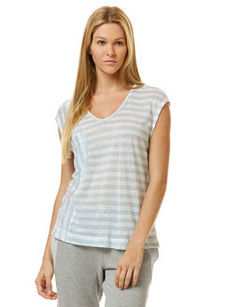 linen mixed stripe pocket tee