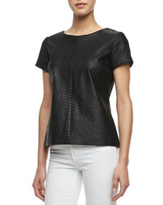 Python Embossed Short-Sleeve Leather Tee   Python Embossed Short-Sleeve Leather Tee