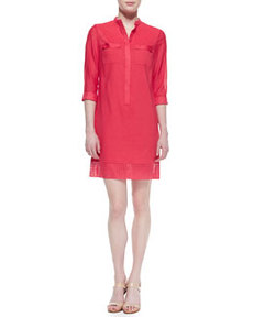 Austin 3/4-Sleeve Eyelet Shirtdress   Austin 3/4-Sleeve Eyelet Shirtdress