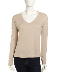 James Perse Wide V-Neck Pullover, Flax