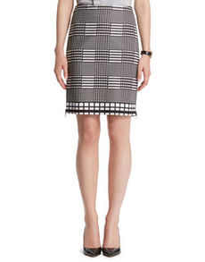 Plaid Print Pencil Skirt