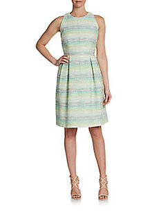 Carmen Marc Valvo Aztec Sleeveless Jacquard Dress