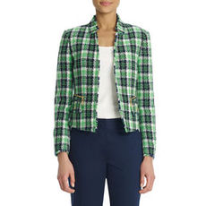 Plaid Boucle Jacket with Stand Collar