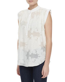 Sleeveless Floral-Burnout Blouse   Sleeveless Floral-Burnout Blouse