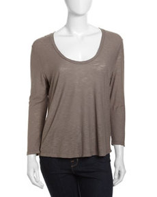 James Perse Soft V-Neck Tee, Burro