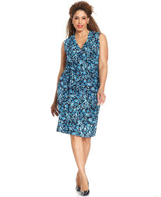 Jones New York Collection Plus Size Sleeveless Floral-Print Faux-Wrap Dress