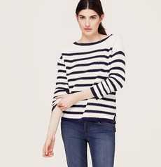 Stripe Textured Cotton Sweater