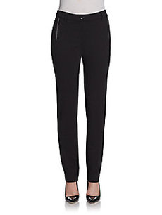 Saks Fifth Avenue BLACK Faux Leather Trim Ponte Knit Pants