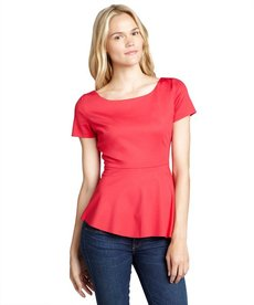 Elie Tahari tulip red stretch knit 'Landon' short sleeve peplum blouse
