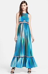 Tracy Reese Cutout Print Silk Maxi Dress