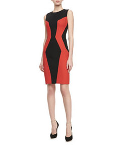 JASON WU Colorblock Paneled Fitted Sheath Dress